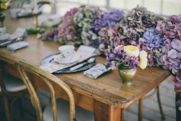 Hydrangea table runner bridal styled shoot