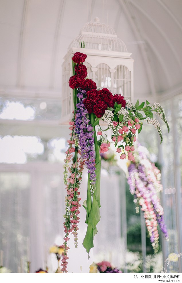 Wedding bird cages with flowers