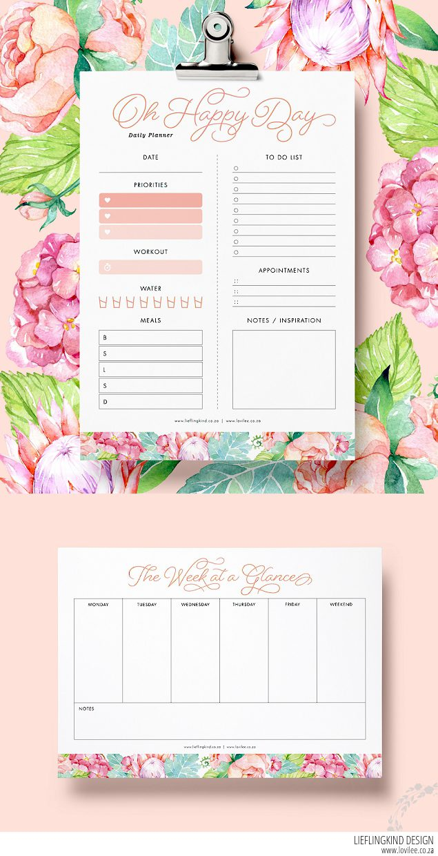 Download daily and weekly free planner printables ...