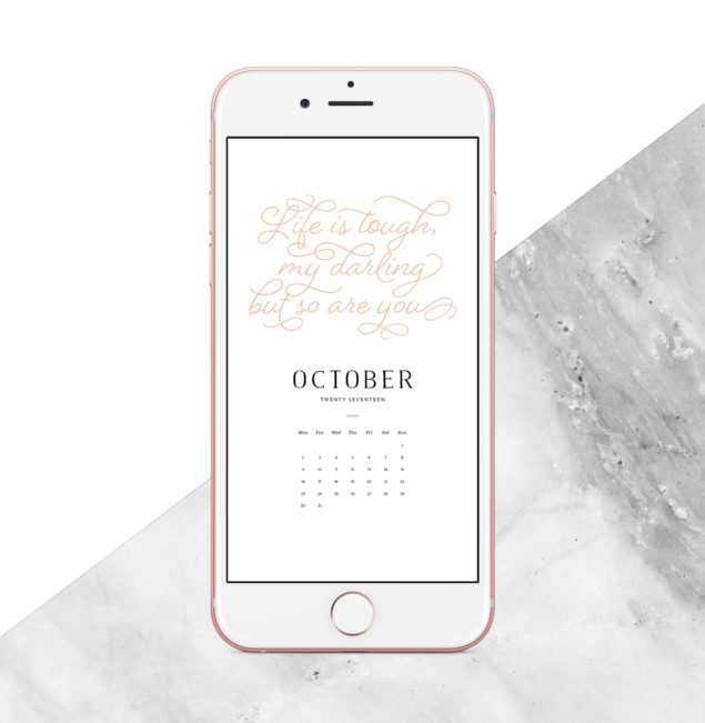 2017 October Digital Calendar - smartphone and tablet version