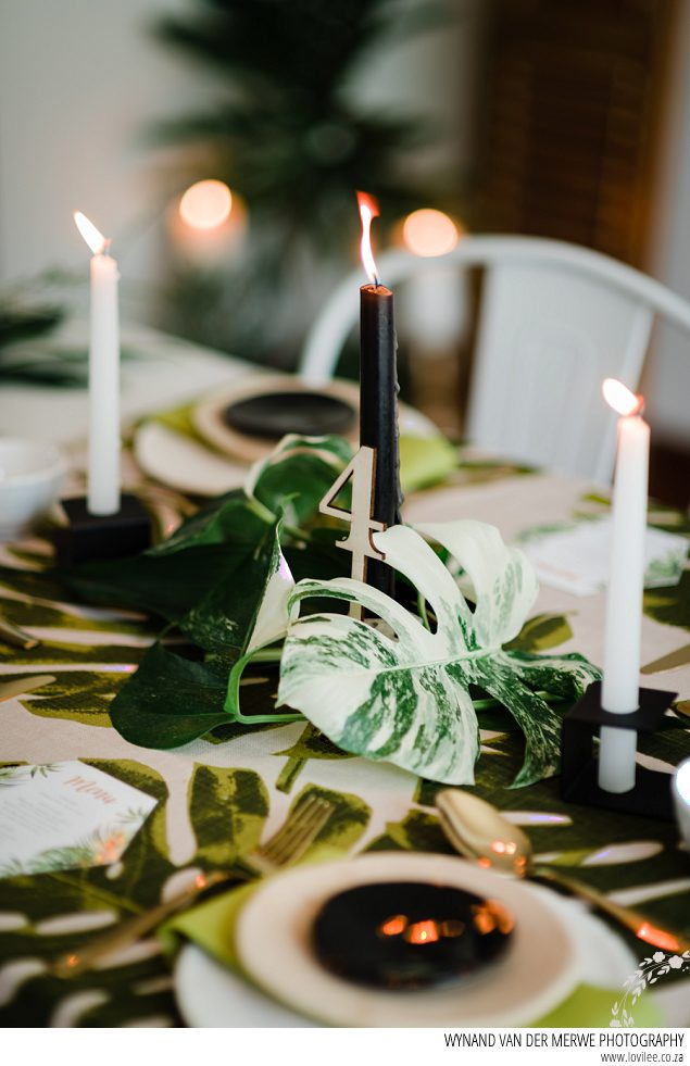 Delicious monster greenery tablescape