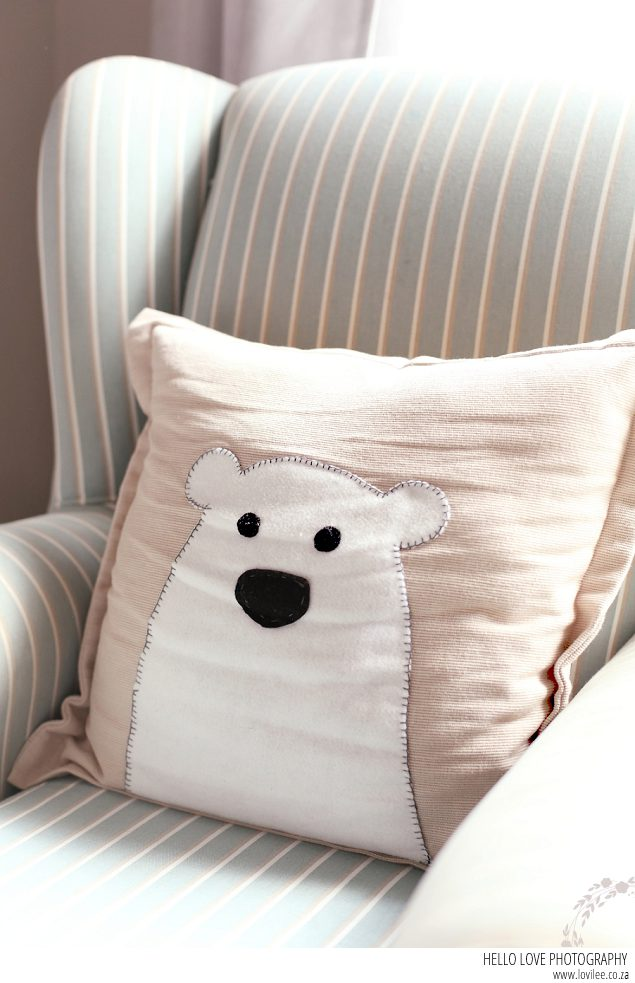 Polar bear nursery cushion