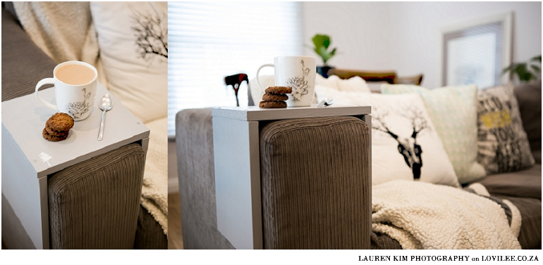 DIY couch armrest table by Lauren Kim Photography