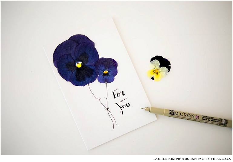 Pressed flower and calligraphy card