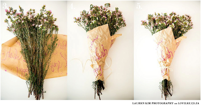 How to wrap a flower bouquet 4 different ways lovilee blog bouquet wrapped in brown paper with writing on mightylinksfo