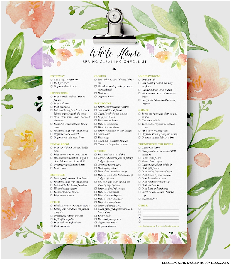 Spring cleaning checklist printable by Lieflingkind Design