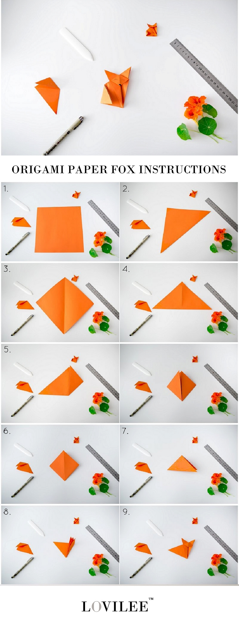Origami paper fox folding instructions
