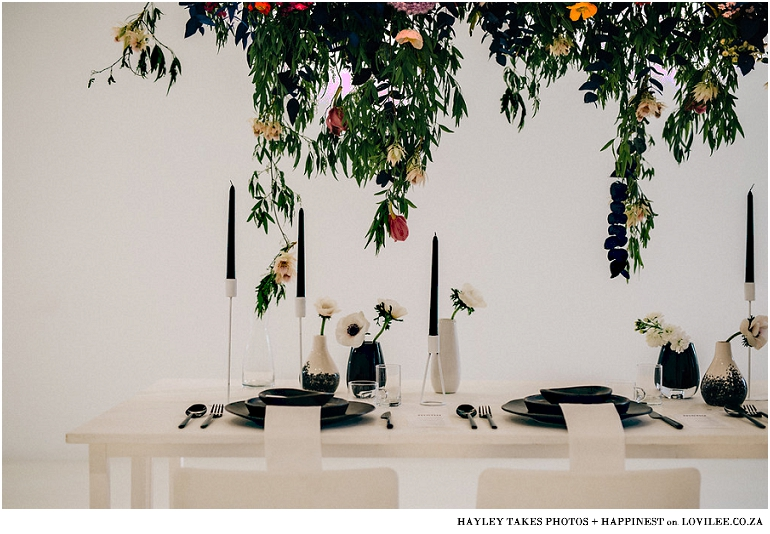 Monochrome colourfburst wedding tablescape