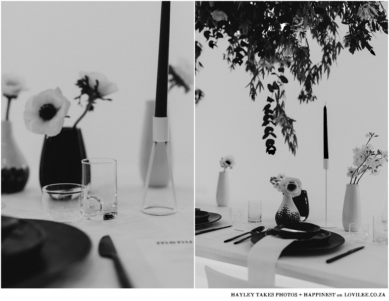 Black and white image monocrhrome wedding decor with Mervyn Gers Ceramics
