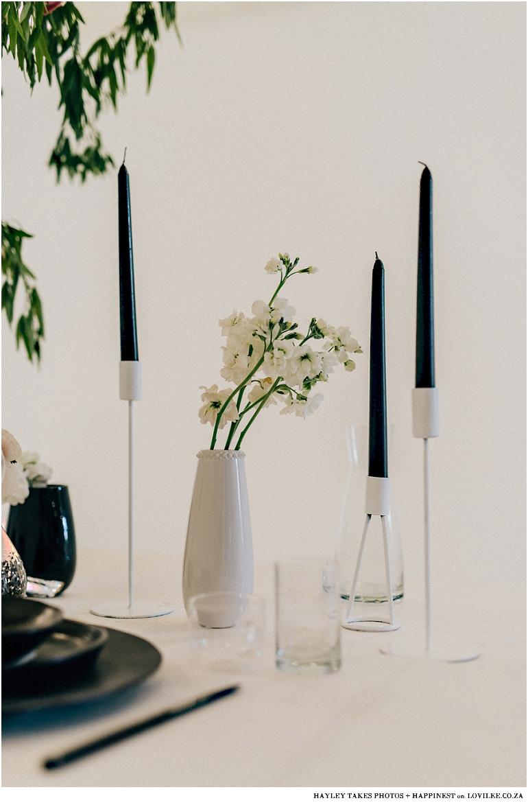 Monochrome colourburst wedding tablescape