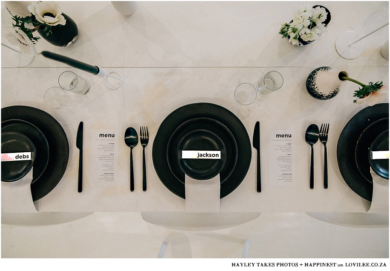 Monochrome wedding table decor