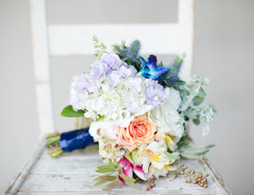 Geometric wedding inspiration - colourful bridal bouquet