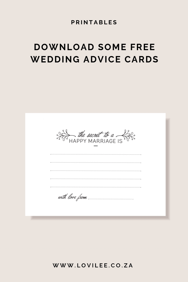 Download some free wedding advice cards