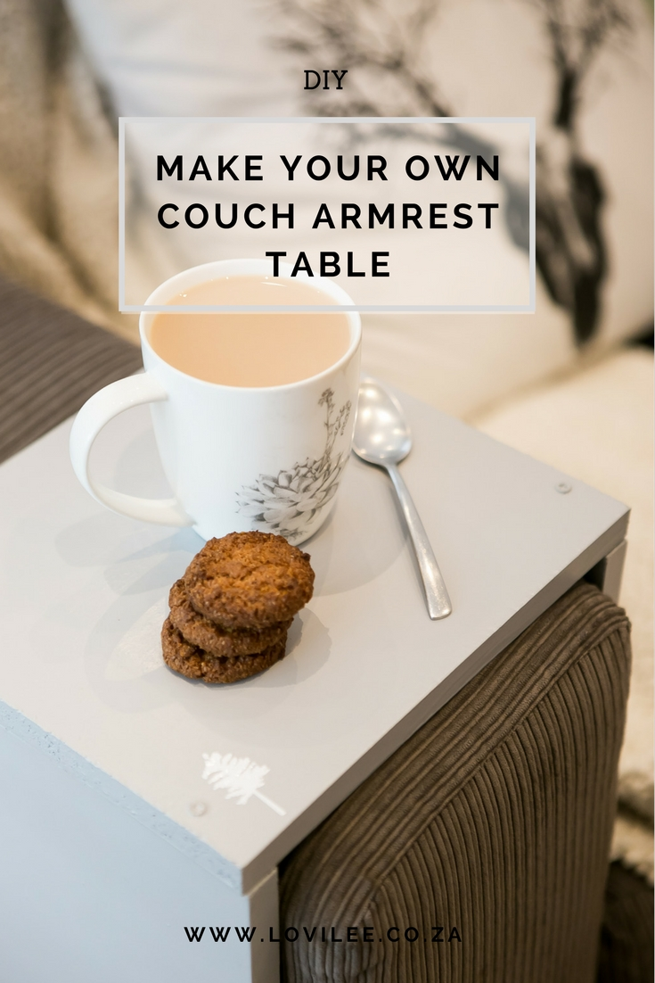 DIY sofa armrest table by Lauren Kim Photography
