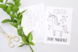 Wedding and Unicorn coloring pages