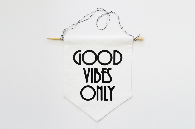 Good vibes only wall flag by Match Set Love