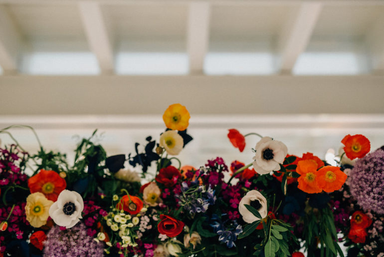 Colourburst wedding ideas and floral installation