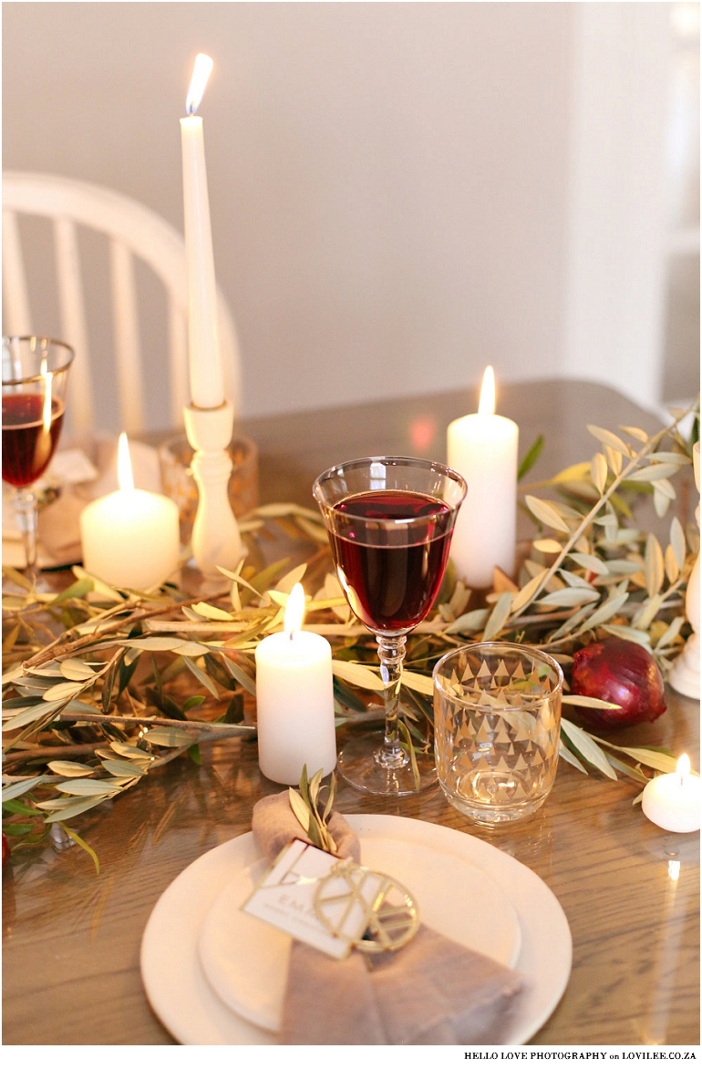 Scandinavian Christmas table decor with olive branches