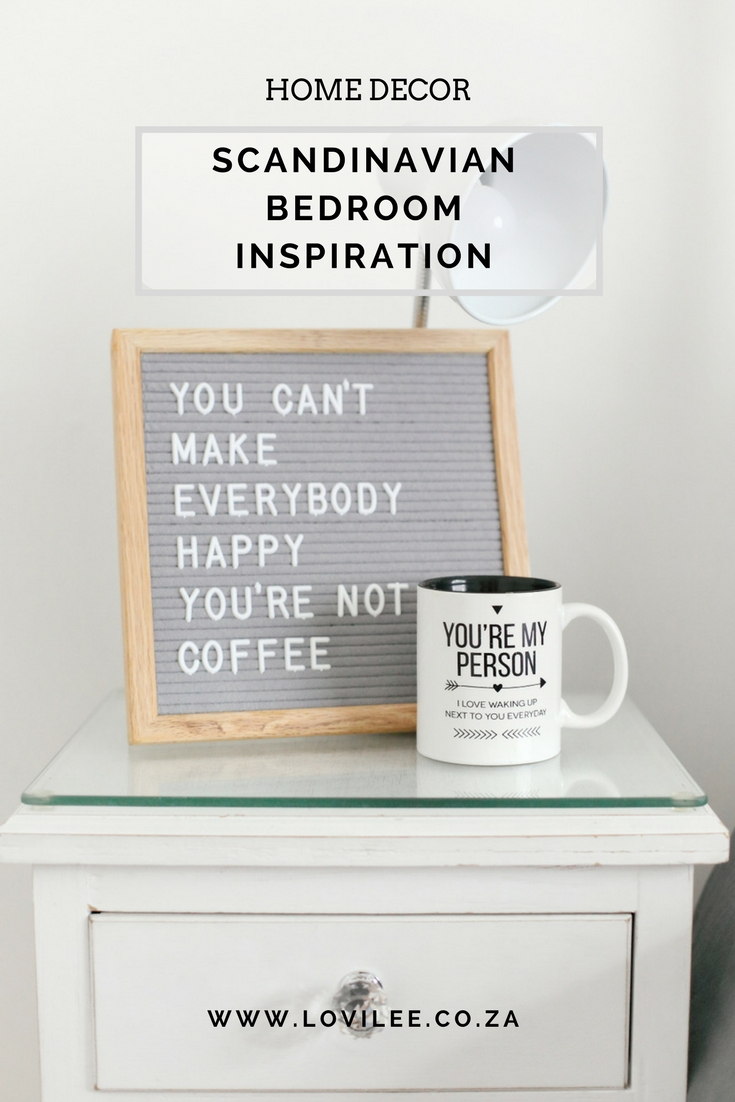 Scandinavian bedroom inspiration with a grey letterboard