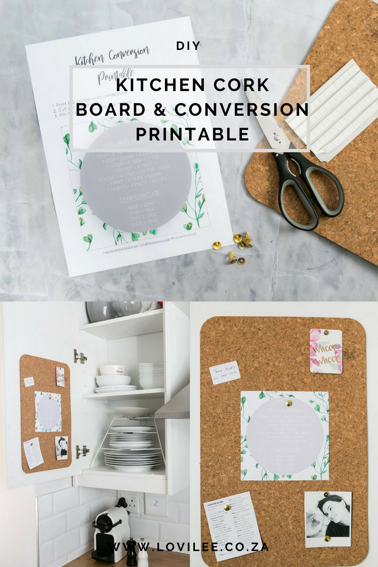 5 minute kitchen craft cork board with free conversion chart printable