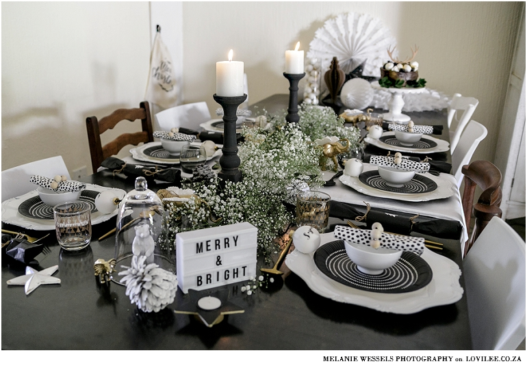 Black And White Christmas Table With A Mini Lightbox