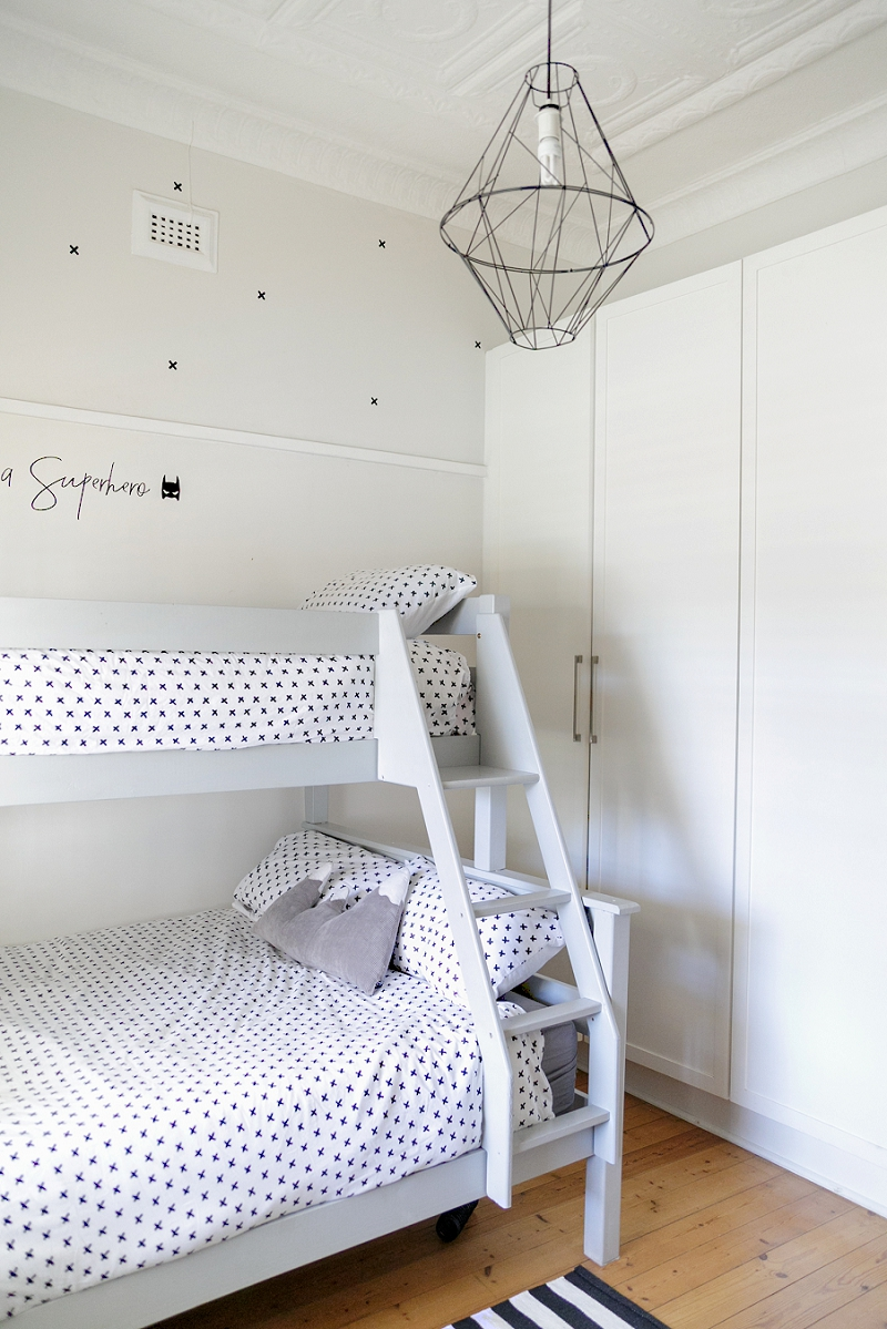 Bunk Beds in a kids monochrome room