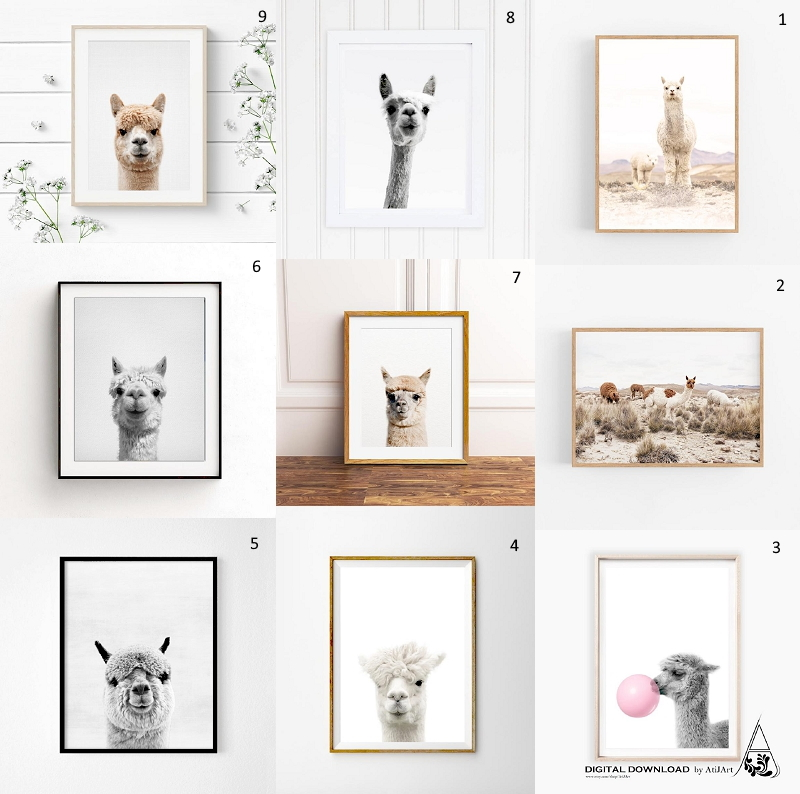 Round up of the best alpaca prints on Etsy